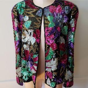 Vintage sequin jacket 100% silk nite line 90s mint